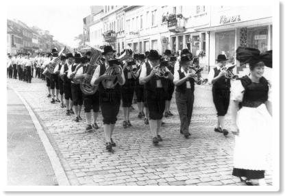 Das Blasorchester beim Besuch in Marlen 1966
